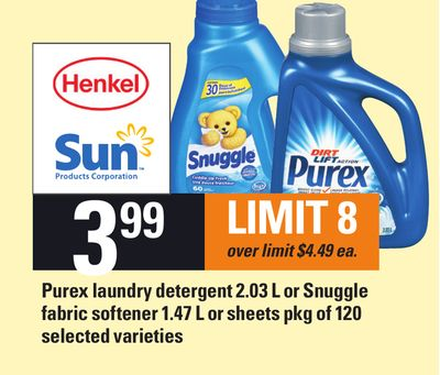 Purex Laundry Detergent 2.03 L or Snuggle Fabric Softener 1.47 L or Sheets Pkg of 120