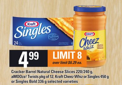 Cracker Barrel Natural Cheese Slices 220/240 G - Amooza! Twists Pkg Of 12 - Kraft Cheez Whiz Or Singles 450 G Or Singles Bold 336 G