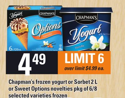 Chapman's Frozen Yogurt Or Sorbet 2 L Or Sweet Options Novelties Pkg Of 6/8