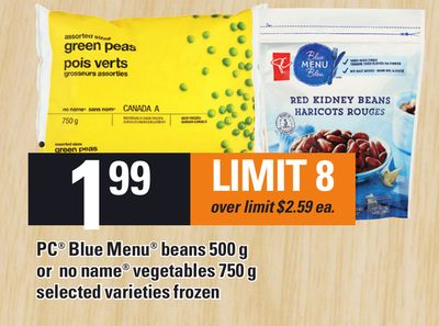 PC Blue Menu Beans 500 G Or No Name Vegetables 750 G