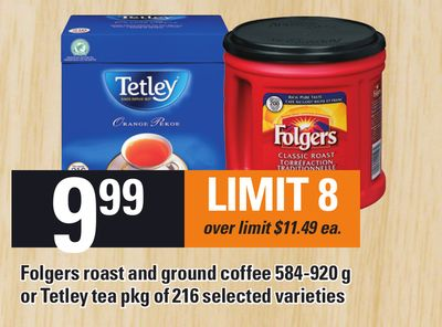 Folgers Roast And Ground Coffee 584-920 G Or Tetley Tea Pkg Of 216