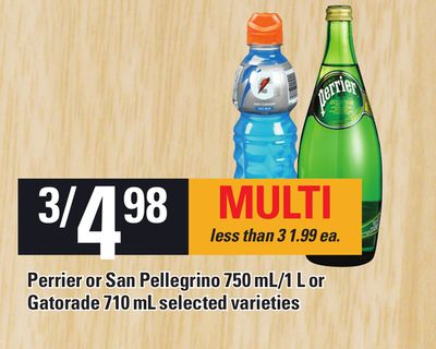 Perrier Or San Pellegrino 750 Ml/1 L Or Gatorade 710 Ml