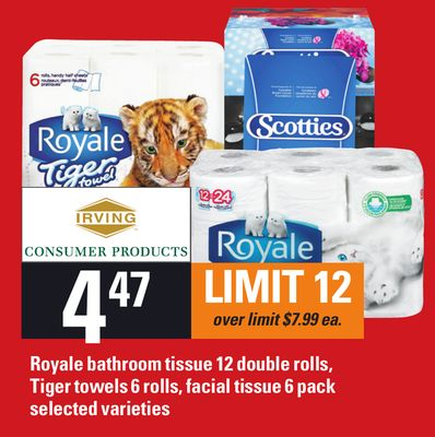 Royale Bathroom Tissue 12 Double Rolls - Tiger Towels 6 Rolls - Facial Tissue 6 Pack