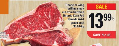 T-bone Or Wing Grilling Steak Cut From Certified Ontario Corn Fed