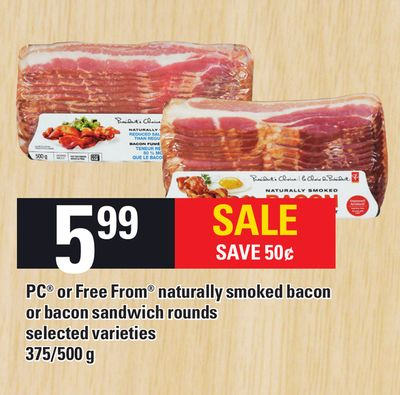 PC Or Free From Naturally Smoked Bacon Or Bacon Sandwich Rounds - 375/500 G