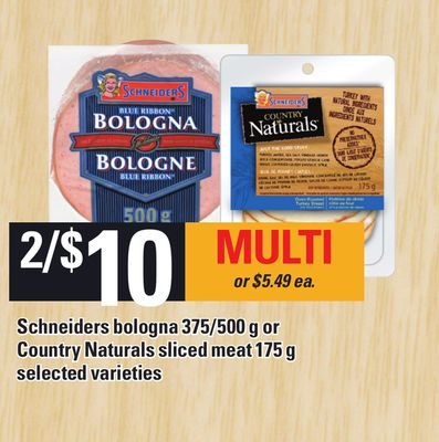 Schneiders Bologna - 375/500 g Or Country Naturals Sliced Meat - 175 g