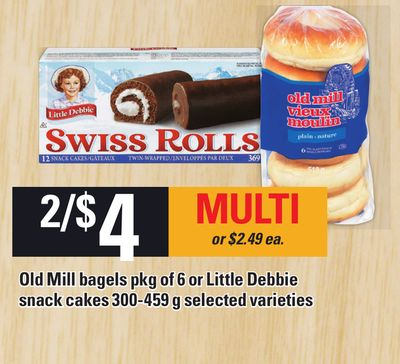 Old Mill Bagels Pkg Of 6 Or Little Debbie Snack Cakes 300-459 G