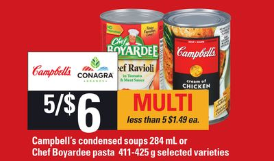 Campbell's Condensed Soups 284 Ml Or Chef Boyardee Pasta 411-425 g