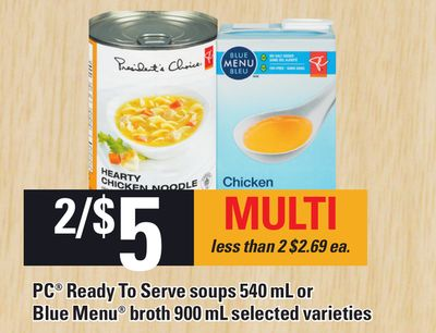 PC Ready To Serve Soups - 540 ml Or Blue Menu Broth - 900 ml