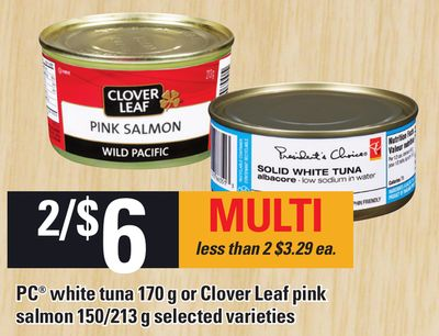 PC White Tuna - 170 g Or Clover Leaf Pink Salmon - 150/213 g