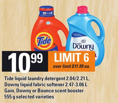 Tide Liquid Laundry Detergent 2.04/2.21 L - Downy Liquid Fabric Softener 2.47-3.06 L Gain - Downy Or Bounce Scent Booster 555 G