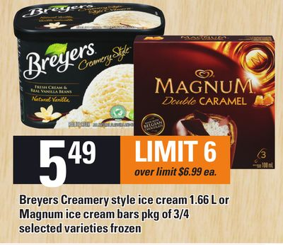 Breyers Creamery Style Ice Cream 1.66 L Or Magnum Ice Cream Bars Pkg Of 3/4