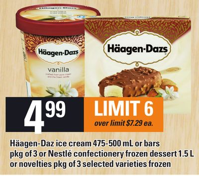 Häagen-daz Ice Cream 475-500 Ml Or Bars Pkg Of 3 Or Nestlé Confectionery Frozen Dessert 1.5 L Or Novelties Pkg Of 3