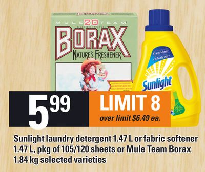 Sunlight Laundry Detergent 1.47 L Or Fabric Softener 1.47 L - Pkg Of 105/120 Sheets Or Mule Team Borax