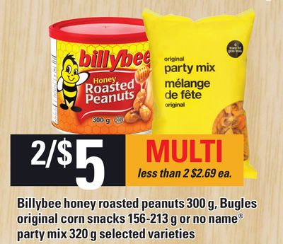 Billybee Honey Roasted Peanuts 300 G - Bugles Original Corn Snacks 156-213 G Or No Name Party Mix 320 G