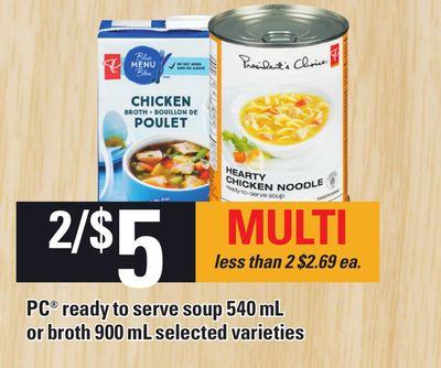 PC Ready To Serve Soup 540 Ml Or Broth 900 Ml