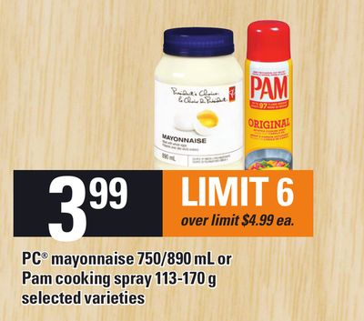 PC Mayonnaise 750/890 mL Or Pam Cooking Spray 113-170 g