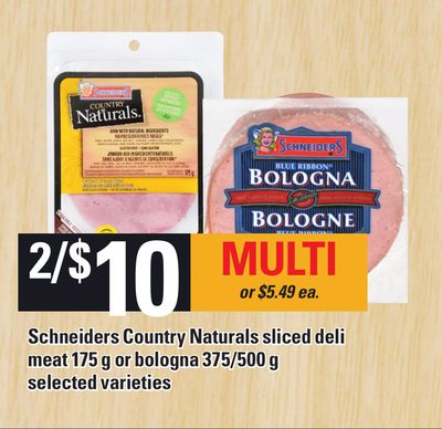Schneiders Country Naturals Sliced Deli Meat - 175 g Or Bologna - 375/500 g
