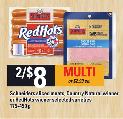 Schneiders Sliced Meats - Country Natural Wiener Or Redhots Wiener - 175-450 g