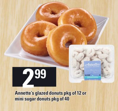 Annette's Glazed Donuts Pkg Of 12 Or Mini Sugar Donuts Pkg Of 40
