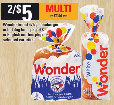 Wonder Bread 675 G - Hamburger Or Hot Dog Buns Pkg Of 8 Or English Muffins Pkg Of 6
