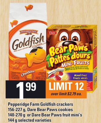 Pepperidge Farm Goldfish Crackers 156-227 g - Dare Bear Paws Cookies 140-270 g Or Dare Bear Paws Fruit Mini's 144 g