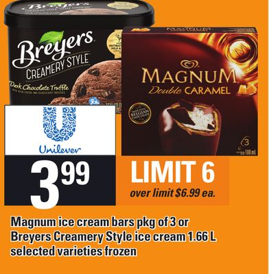 Magnum Ice Cream Bars Pkg Of 3 Or Breyers Creamery Style Ice Cream 1.66 L