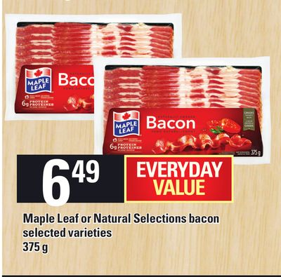 Maple Leaf Or Natural Selections Bacon - 375 G