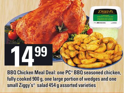 Bbq Chicken Meal Deal: One PC Bbq Seasoned Chicken - Fully Cooked 900 g - One Large Portion Of Wedges And One Small Ziggy's Salad 454 g