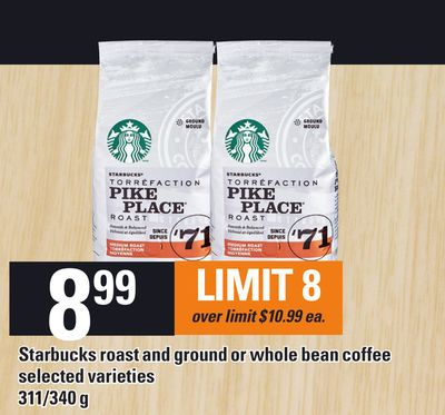 Starbucks Roast And Ground Or Whole Bean Coffee - 311/340 g