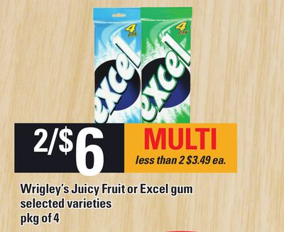 Wrigley's Juicy Fruit Or Excel GUM