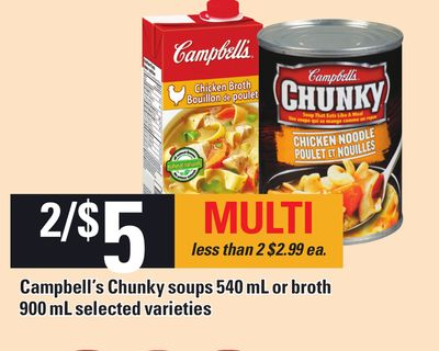 Campbell's Chunky Soups 540 Ml Or Broth 900 Ml