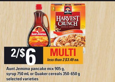 Aunt Jemima Pancake Mix 905 g - Syrup 750 Ml Or Quaker Cereals 350-650 g
