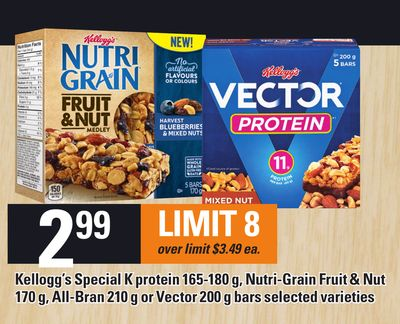 Kellogg's Special K Protein 165-180 G - Nutri-grain Fruit & Nut 170 G - All-bran 210 G Or Vector 200 G Bars