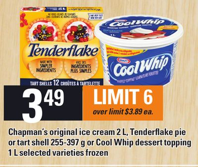 Chapman's Original Ice Cream 2 L - Tenderflake Pie Or Tart Shell 255-397 G Or Cool Whip Dessert Topping - 1 L