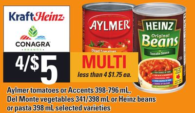 Aylmer Tomatoes Or Accents 398-796 Ml - Del Monte Vegetables 341/398 Ml Or Heinz Beans Or Pasta 398 Ml