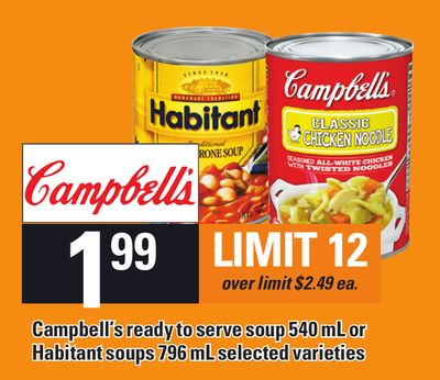 Campbell's Ready To Serve Soup 540 Ml Or Habitant Soups 796 Ml