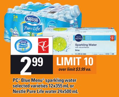 PC Blue Menu Sparkling Water Selected Varieties 12x355 mL Or Nestlé Pure Life Water 24x500 mL