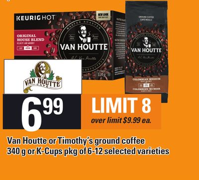 Van Houtte Or Timothy's Ground Coffee 340 G Or K-cups Pkg Of 6-12