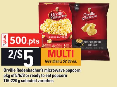 Orville Redenbacher's Microwave Popcorn Pkg Of 5/6/8 Or Ready To Eat Popcorn - 116-220 G