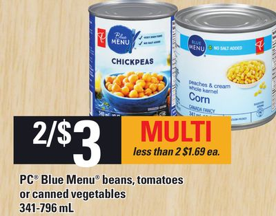 PC Blue Menu Beans - Tomatoes Or Canned Vegetables - 341-796 mL