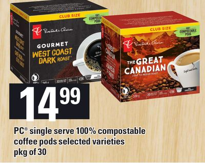 PC Single Serve 100% Compostable Coffee PODS - Pkg Of 30