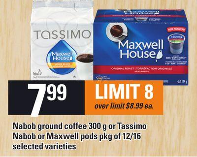 Nabob Ground Coffee 300 g Or Tassimo Nabob Or Maxwell PODS Pkg Of 12/16