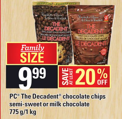 PC The Decadent Chocolate Chips Semi-sweet Or Milk Chocolate - 775 G/1 Kg