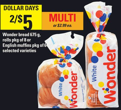 Wonder Bread 675 G - Rolls Pkg Of 8 Or English Muffins Pkg Of 6