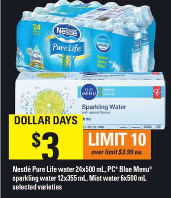 Nestlé Pure Life Water 24x500 mL - PC Blue Menu Sparkling Water 12x355 mL - Mist Water 6x500 mL