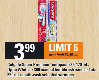Colgate Super Premium Toothpaste 85-170 Ml - Optic White Or 360 Manual Toothbrush Each Or Total 250 Ml Mouthwash