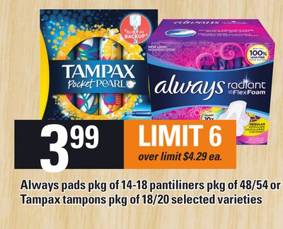 Always Pads Pkg Of 14-18 Pantiliners Pkg Of 48/54 Or Tampax Tampons Pkg Of 18/20