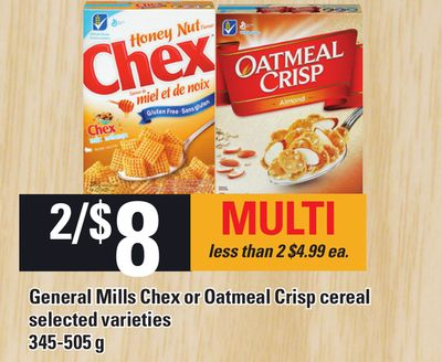 General Mills Chex Or Oatmeal Crisp Cereal - 345-505 g