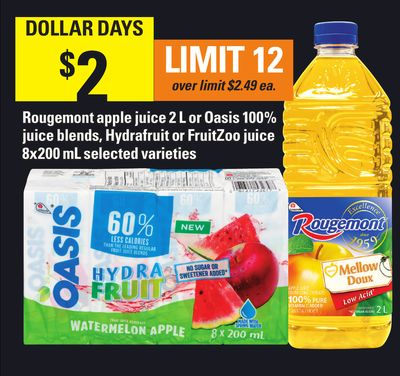 Rougemont Apple Juice 2 L Or Oasis 100% Juice Blends - Hydrafruit Or Fruitzoo Juice - 8x200 mL